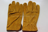 Перчатка водителя заварки 10.5 дюймов желтая кожаный работая с Ce
