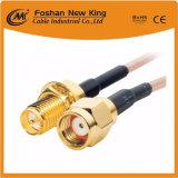 Cable coaxial superior del funcionamiento 75ohm RG6 con los conectores de F para el VCR plateado de la TV vía satélite de Digitaces