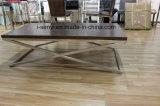 Mobília superior de madeira imitada moderna da sala de visitas da mesa de centro do aço inoxidável
