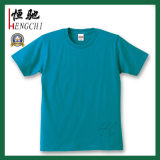 주문 싼 선전용 파란 면 둥근 목 t-셔츠
