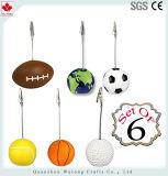 Supporto di scheda personalizzato regali promozionali di disegno delle sfere di sport di Polyresin