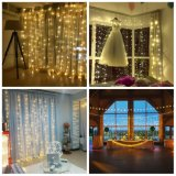 Linkable Icicle Curtain String Lights for Home Badly Office Left Weddings Bedroom Xmas, Warm White LED, 9.8 TF X 9.8 TF, 8 Modes Silvery Copper Wire