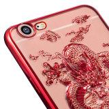 Caso flessibile di nuovo stile freddo TPU del drago 3D per il iPhone 7 con il vetro della protezione dello schermo