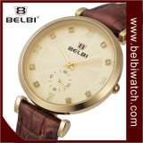 Diamant Belbi occasionnels de conception en cuir de quartz Women Watch