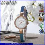 Wristwatches повелительниц кожаный планки вахты кварца способа ODM (WY-075D)