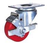 PU-Rad-Schwenker-Fußrolle mit Bremse