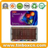 Caixa colorida do estanho do lápis para a coleção Pastel, caixa dos artigos de papelaria do metal