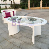 Weiße moderne Freizeit-im Freiengarten-Balkon PET Rattan, das Set speist