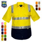 Hallo het Weerspiegelende Eenvormige Overhemd van de Veiligheid van het Werk Vis met Korte Koker