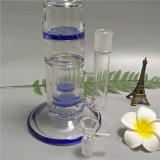 9mm Waterpijp van het Glas van de Pijp van het Glas van de Dikte de Nieuwe Rokende met 2 Percs 1 Hoge Spatlap 16 Duim (GB-254)