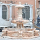 Красным мрамором Карвинг каменные статуи сад Фонтан (GSF-118)