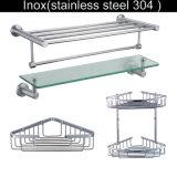 304ステンレス鋼の浴室タオルのガラス角の棚