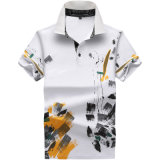 Moda masculina Camisa Impresso Solto Casual Camisa camisa Polo de Lazer