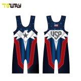 Abbigliamento Sportivo Personalizzato Cheap Funny American Flag Wrestling Singlets 5xl