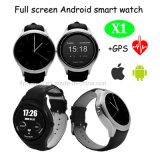 完全な円形スクリーンのSIMのカードスロット(X1)が付いているスマートな腕時計の電話