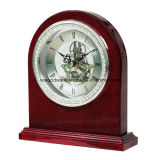 Acabado Piano de palo de rosa reloj esqueleto con anillo de diamante