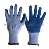 10 guantes hechos punto Tc grises del calibrador con la palma azul del látex de la arruga cubierta