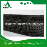 China-Lieferant Kurbelgehäuse-Belüftung, das 100-100 Kn/M Verzerrung gestricktes Polyester-Haustier Geogrid für Bahnkörper beschichtet