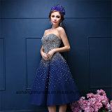 Crystal nervurage majeur Tea-Length Sweetheart une ligne robe de bal