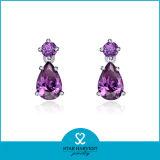 La máxima calidad púrpura Amatista pendientes para las niñas (SH-J0030E)