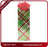 O presente verde do papel do frasco de vinho de Xms ensaca sacos do presente de Vitage dos sacos do vinho