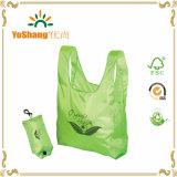 ロゴプリントEco白い袋のボタンが付いているナイロンフォールド袋が付いている緑の物質的な運送袋