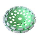 Горячий отжатый двойной абразивный диск чашки диаманта рядка