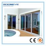 Современный дизайн Roomeye Звуконепроницаемые алюминиевых двойные стекла боковой сдвижной двери