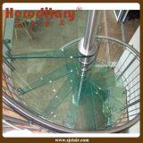 Elegante caliente Euro acero templado y vidrio escalera de caracol para interiores (SJ-H882)