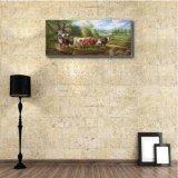 乳牛が付いている古典的な油絵