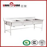 Pia de aço inoxidável de alta qualidade com 2 compartimentos / tigela