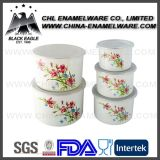 Manufuction 10-18cm Customized Flower Decal Printed Enamel Mixing Bowl