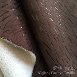 Bronzando il tessuto di cuoio 100% del poliestere della pelle scamosciata con il panno morbido legato