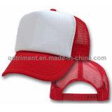 Populärer Schwamm-Polyester-Ineinander greifen-Fernlastfahrer-Hut (T-Rote Schutzkappe)