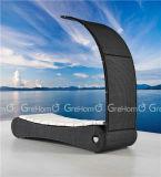 Zwarte Chaise van de Rotan Zitkamer met de Schaduw van de Zon voor Openlucht