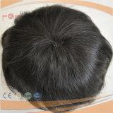 Los hombres de poliuretano de color oscuro tipo Toupee peluca (PPG-l-010)