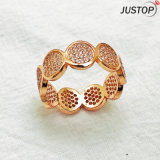 Fashion Gold-Tone CZ Inlay Pedra Anéis de Cristal Design de jóias para Mulheres
