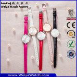 Reloj de señoras ocasional del cuarzo de la correa de cuero de la manera OEM/ODM (Wy-061A)