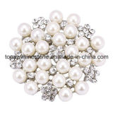Il Brooch nuziale della perla di Pin di cerimonia nuziale del fiore del Rhinestone per decora (BR-20)