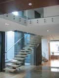현대 계단은 유리제 분할을%s 가진 나무로 되는 단계 계단을 디자인한다