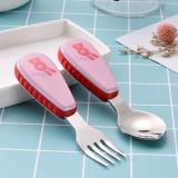 Edelstahl-Besteck/Tischbesteck für Kinder mit Plastikgriff einschließlich Löffel und Gabel