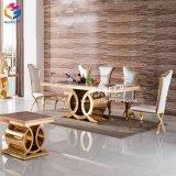 Tableau dinant Hly-St32 réglé de meubles d'acier inoxydable de mariage à la maison de marbre
