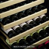 Refroidisseur simple de bouteille de vin de zone de système de refroidissement de ventilateur électrique de 168 bouteilles