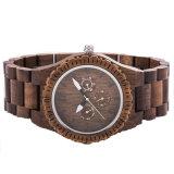 Reloj de madera sólido de la antigüedad de encargo de la insignia, relojes de madera del cuarzo