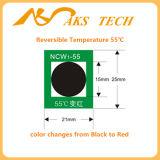 Negro reversible sensible a la escritura de la etiqueta de la temperatura del cambio del color rojo