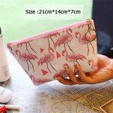 Lindo Mini bolsas de cosméticos Organizador Flamingo Imprimir mujeres Zipper de Necesidades Básicas de maquillaje maquillaje Organizador de la bolsa de viaje
