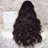 Парик волос длинней черной объемной волны способа Dlme синтетический