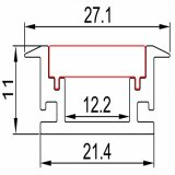 512mm LEIDENE van het LEIDENE Profiel van de Strook het Oppervlakte Opgezette Profiel van het Aluminium