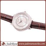 De Saffier van de Riem van het Leer van het Kwarts van de Diamant van de manier Dame Wristwatch
