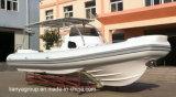 Bateau de luxe de côte de Liya 27feet avec le bateau gonflable rigide de cabine